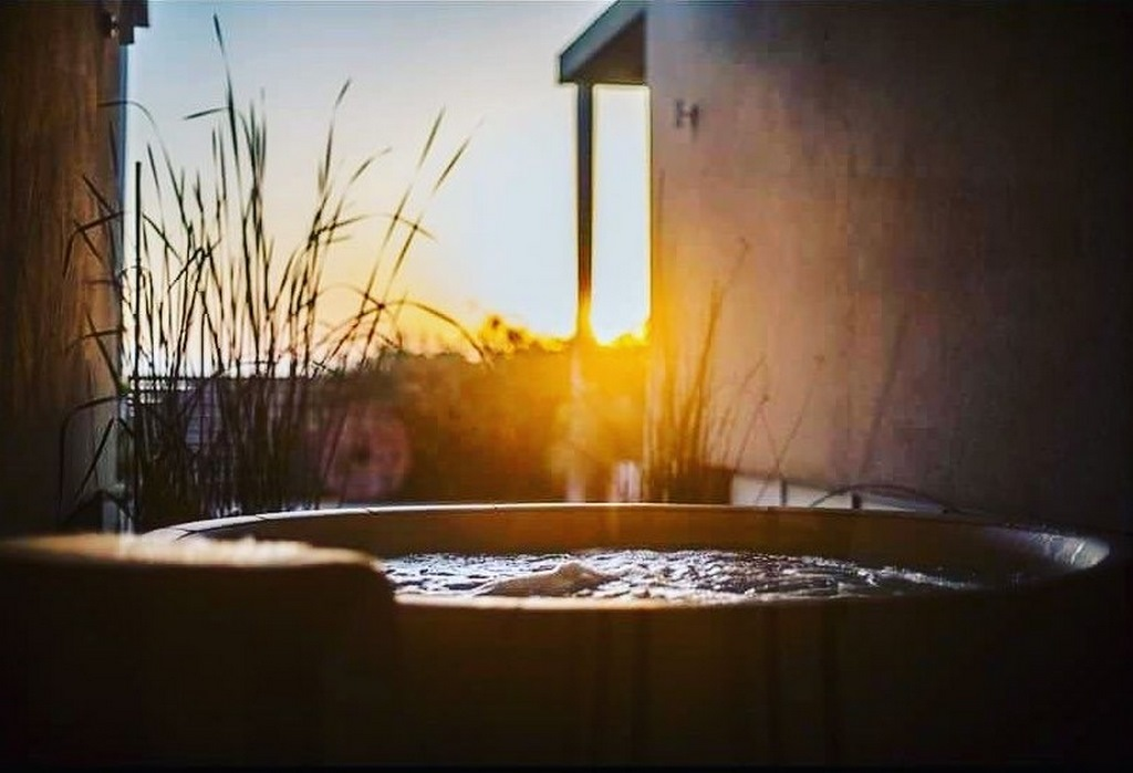 Softub hot tub at sunset