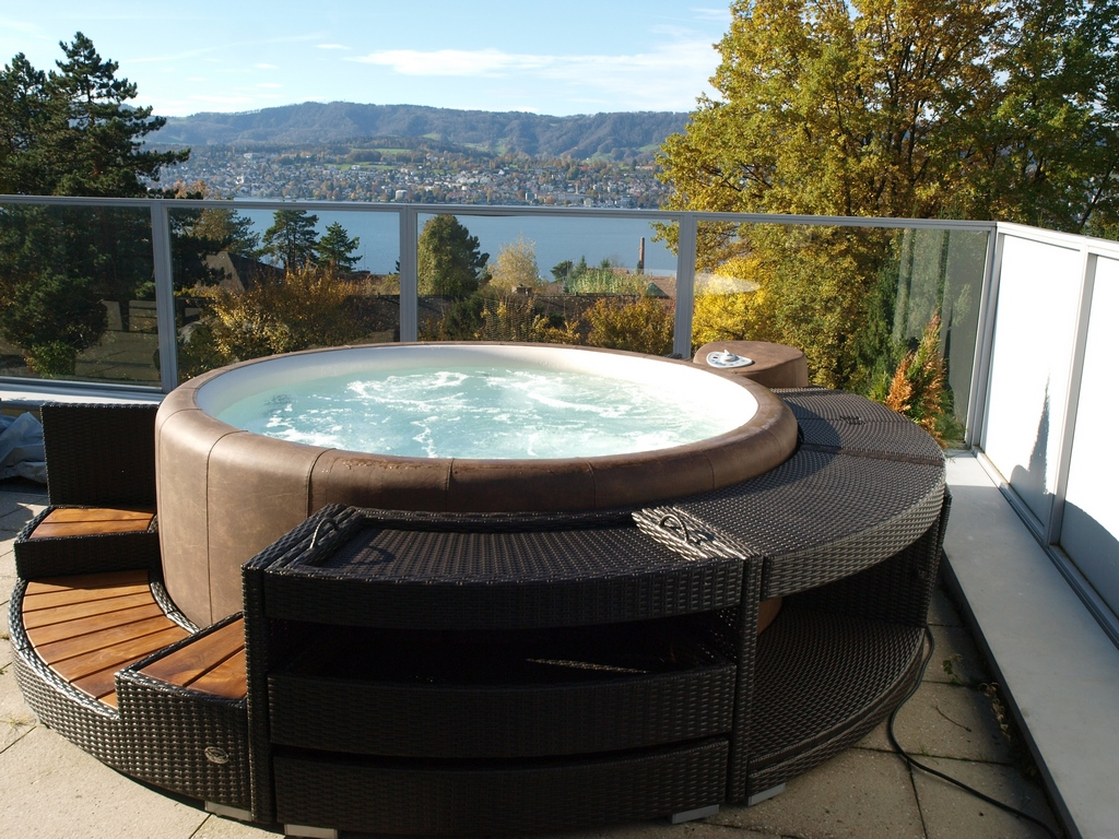 Softub hot tub with great view