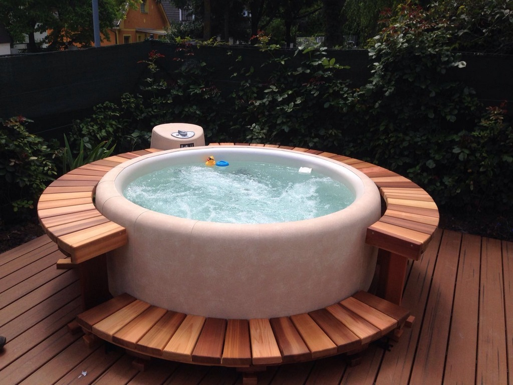 Softub hot tub in almond