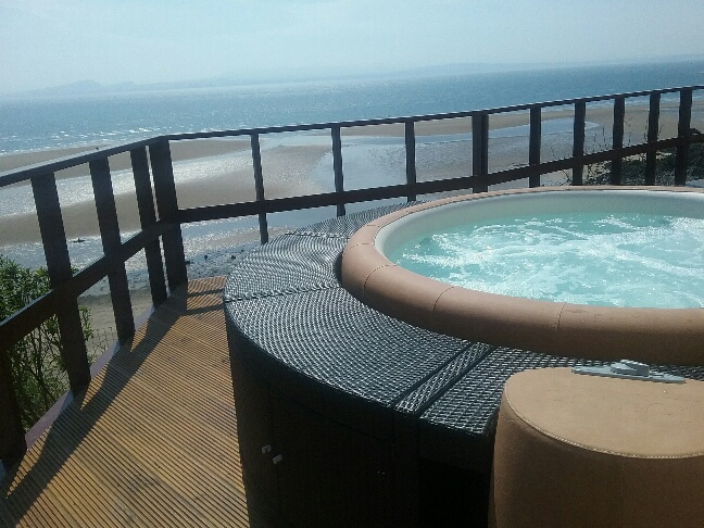 Softub hot tub by the coast