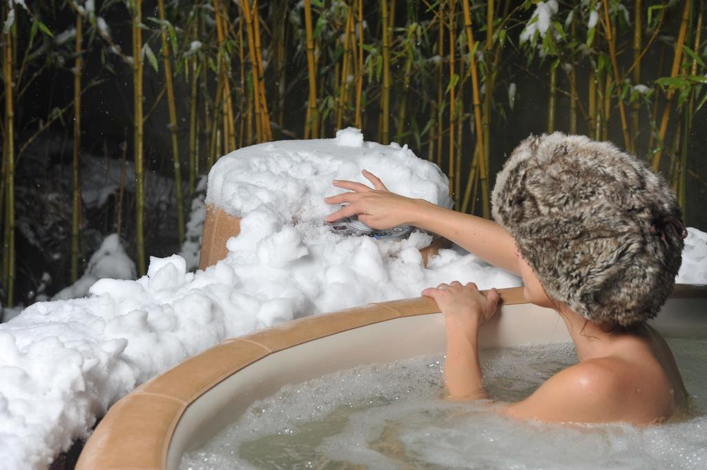 Softub hot tub for snow days